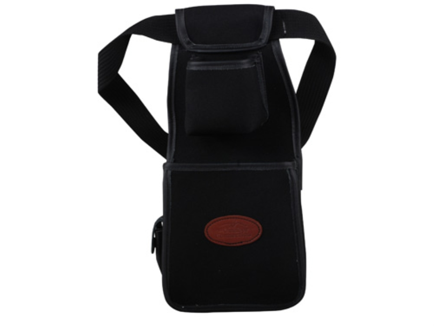 The Outdoor Connection Rigid Shotshell Pouch with Box Holder and Belt Synthetic with Leather Trim Black