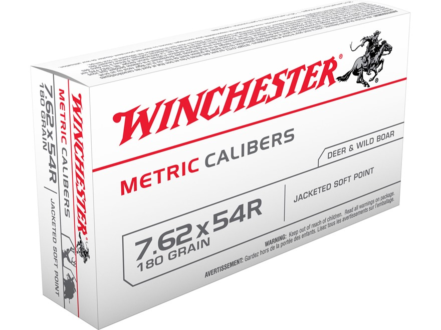 Winchester USA Ammunition 7.62x54mm Rimmed Russian 180 Grain Jacketed Soft Point Box of 20