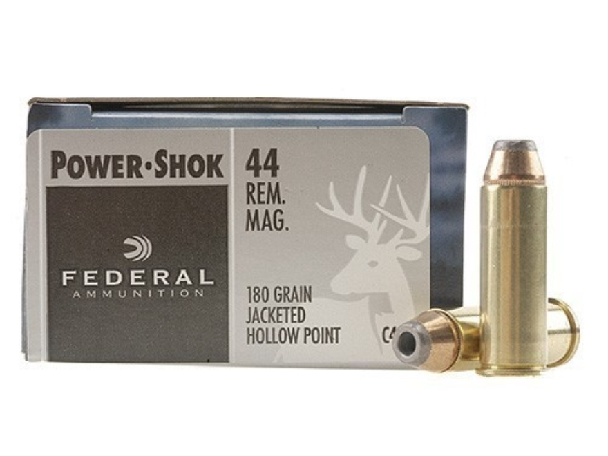 Federal Power-Shok Hunting Ammunition 44 Remington Magnum 180 Grain Jacketed Hollow Point Box of 20