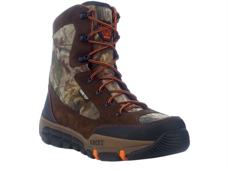 "Rocky L2 Midweight 8"" Waterproof 400 Gram Insulated Hunting Boots Leather and Nylon Brown and Realtree AP Camo Men's 10 D"