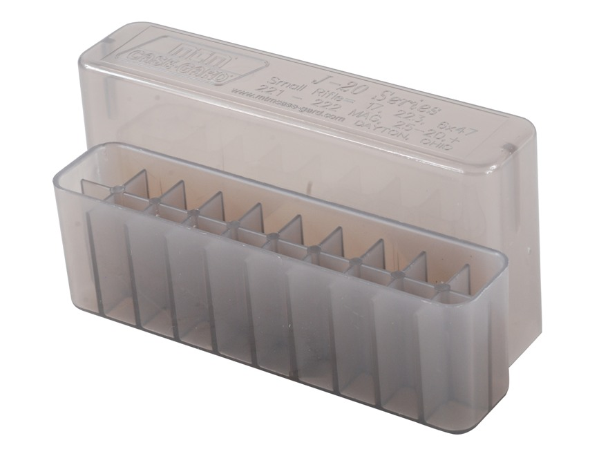 MTM Slip-Top Ammo Box 17 Remington, 222 Remington, 223 Remington 20-Round Plastic