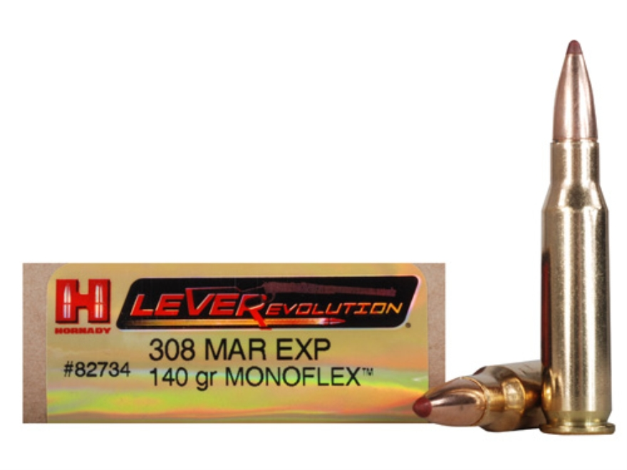 Hornady LEVERevolution Ammunition 308 Marlin Express 140 Grain Gilding Metal MonoFlex Lead-Free Box of 20