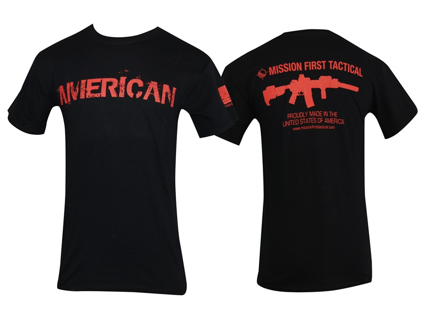 Mission First Tactical American T-Shirt Short Sleeve Cotton Black Small