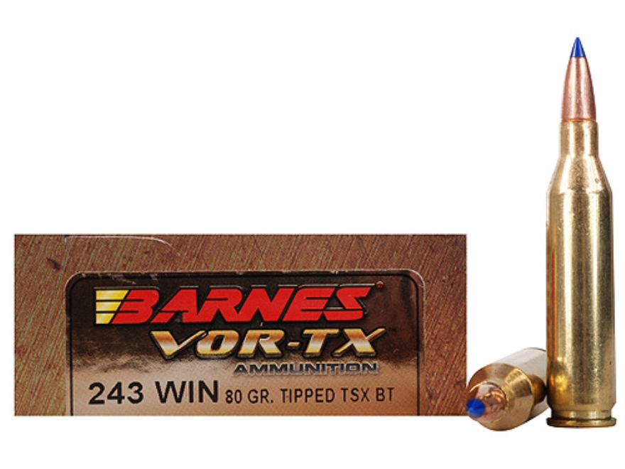 Barnes VOR-TX Ammunition 243 Winchester 80 Grain Tipped Triple-Shock X Bullet Boat Tail Lead-Free Box of 20