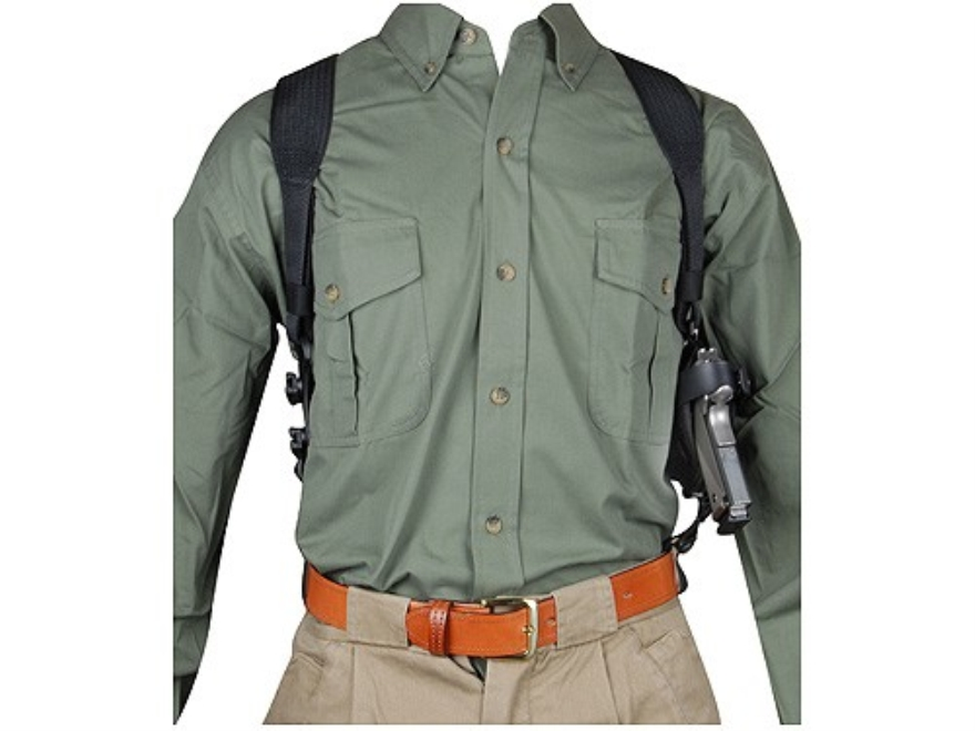 "BlackHawk Horizontal Shoulder Holster Ambidextrous Large Frame Semi-Automatic 3-.75"" to 4.5"" Barrel Nylon Black"