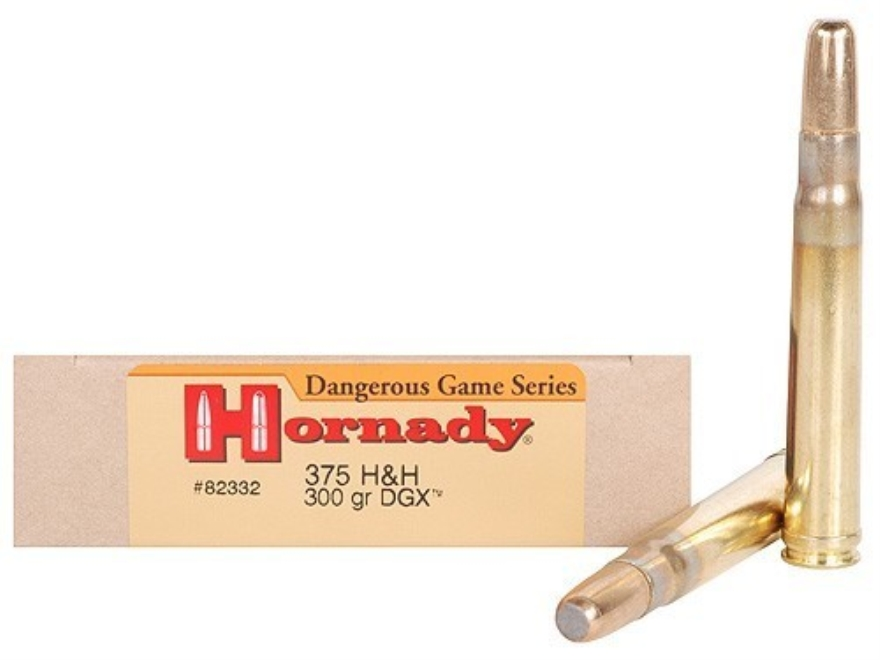Hornady Dangerous Game Ammunition 375 H&H Magnum 300 Grain DGX Round Nose Expanding Box of 20