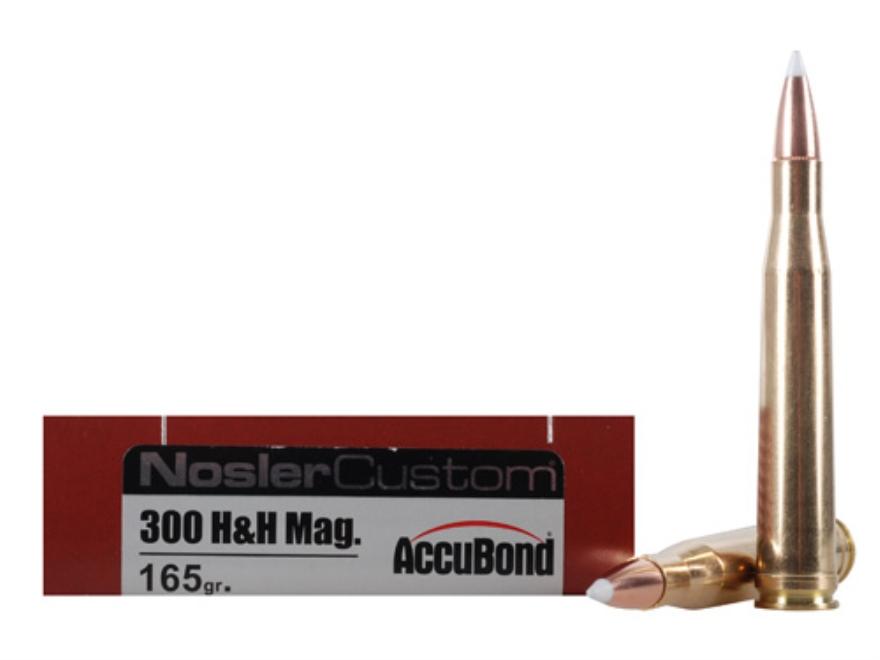Nosler Trophy Grade Ammunition 300 H&H Magnum 165 Grain AccuBond Box of 20