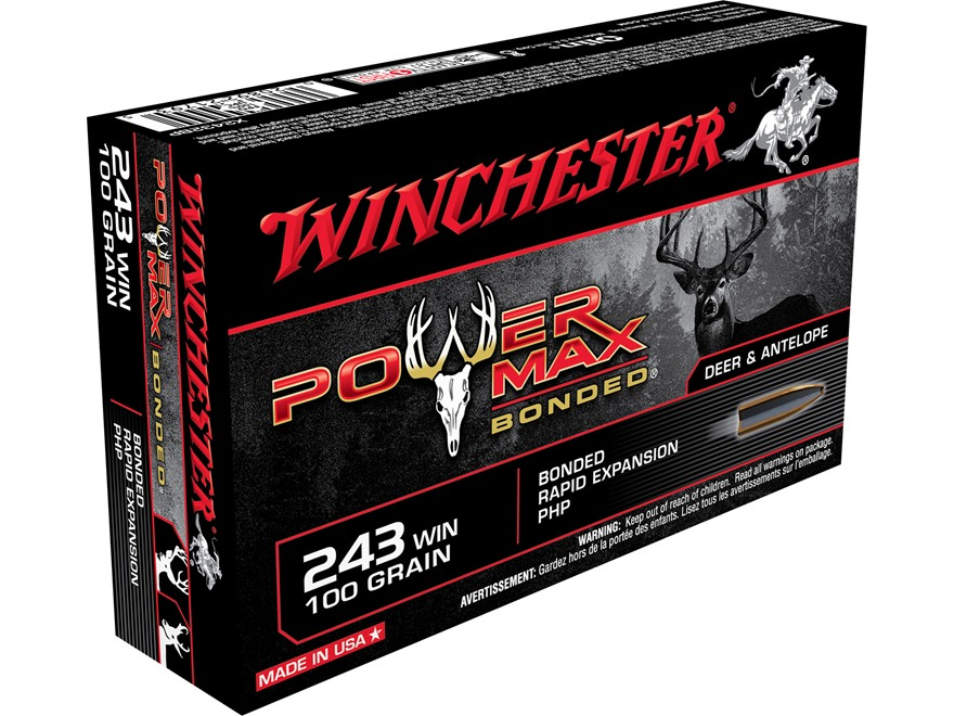 Winchester Power Max Bonded Ammunition 243 Winchester 100 Grain Protected Hollow Point