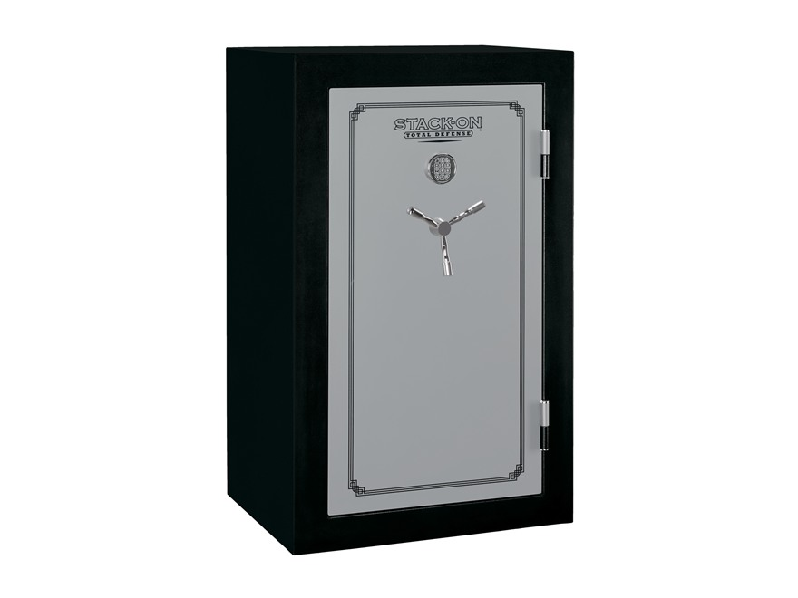 Stack-On Total Defense Fire-Resistant 36-Gun Safe Matte Black and Silver with Door Storage