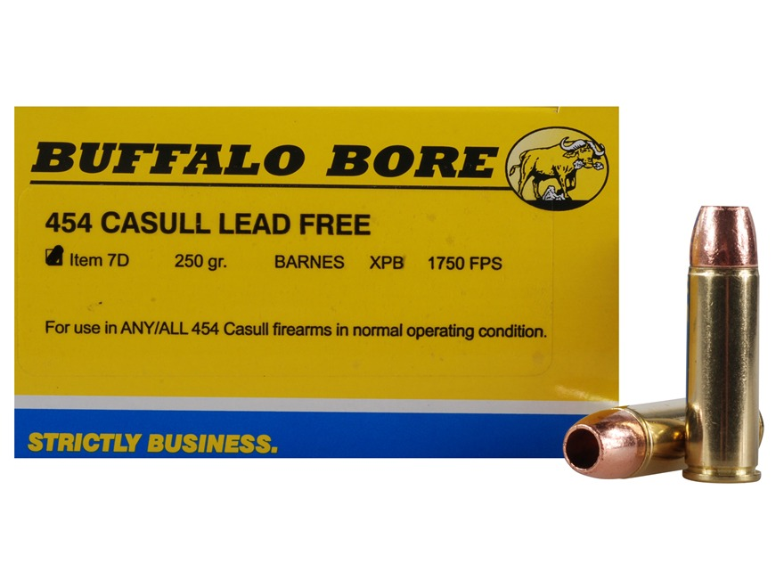 Buffalo Bore Ammunition 454 Casull 250 Grain Barnes XPB Solid Copper Hollow Point Lead-Free Box of 20