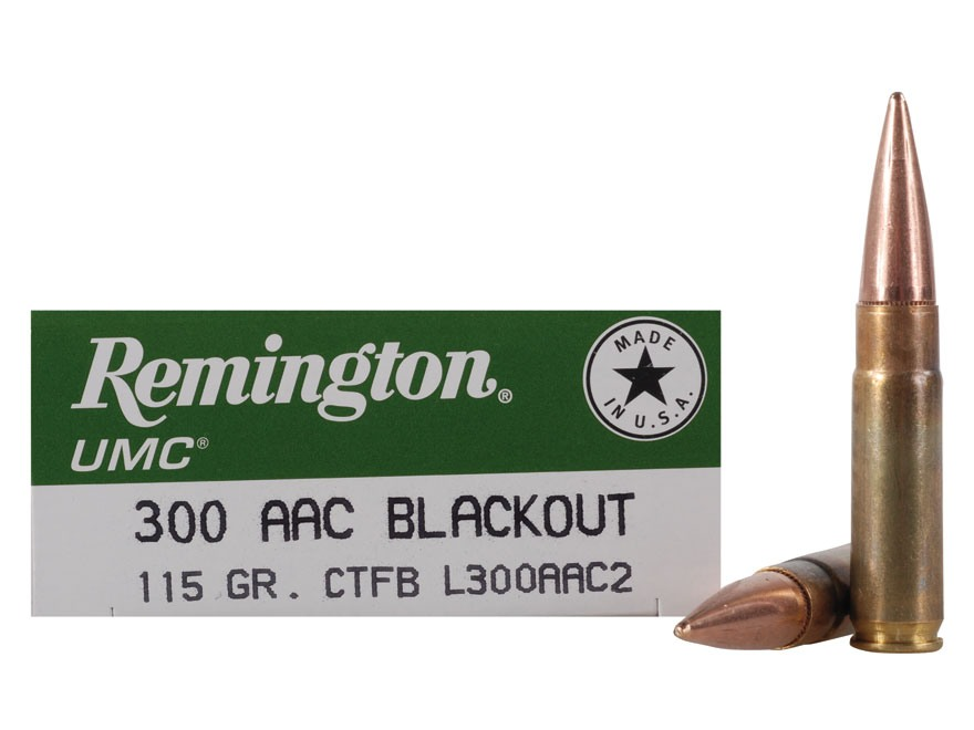 Remington UMC Ammunition 300 AAC Blackout (7.62x35mm) 115 Grain Closed Tip Flat Base Bo...