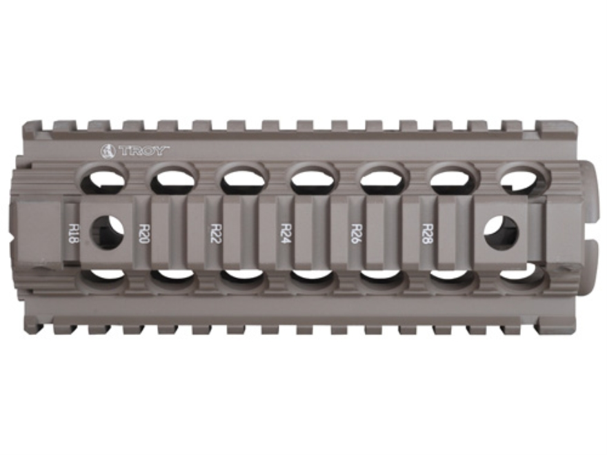 "Troy Industries 7"" MRF CAR/M4 Drop-In Battle Rail 2-Piece Quad Rail Handguard AR-15 Carbine Length Flat Dark Earth"