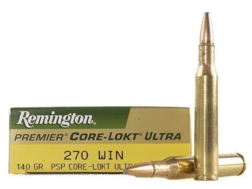 Remington Premier Ammunition 270 Winchester 140 Grain Core-Lokt Ultra Bonded Pointed Soft Point Box of 20