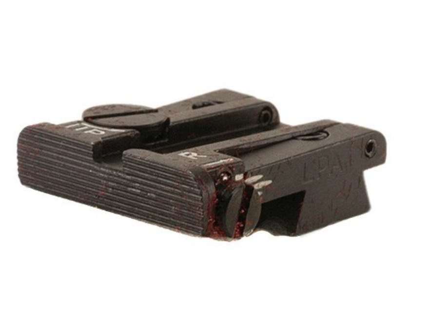 "LPA TPU Adjustable Rear Sight with .080"" Wide Notch Colt 1911 A1 Cut Steel Matte Fully Serrated"