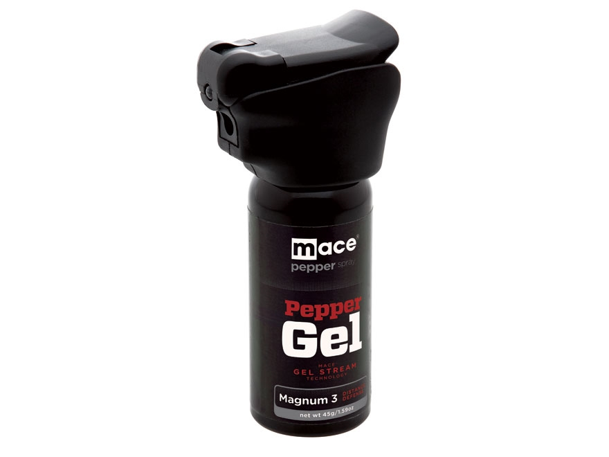 Mace Brand Night Defender Gel Pepper Spray 45 Gram Aerosol Integrated LED Light 10% OC Gel Plus UV Dye Black