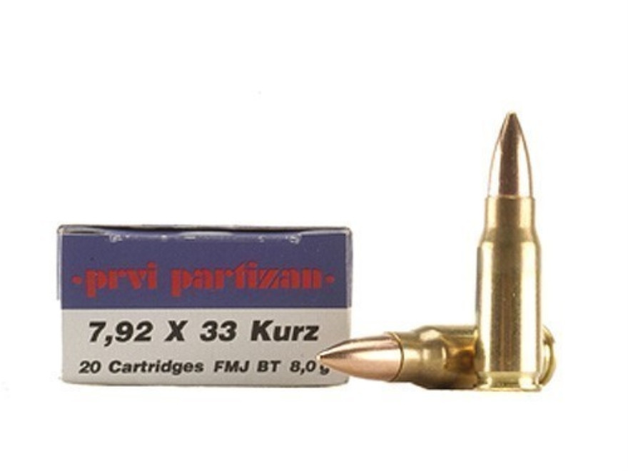Prvi Partizan Ammunition 7.92x33mm Kurz Mauser 124 Grain Full Metal Jacket Boat Tail Box of 20