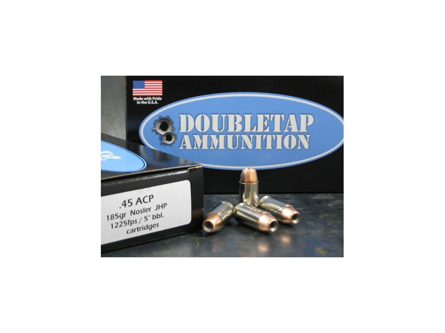 Doubletap Ammunition 45 ACP 185 Grain Nosler Jacketed Hollow Point Box of 50