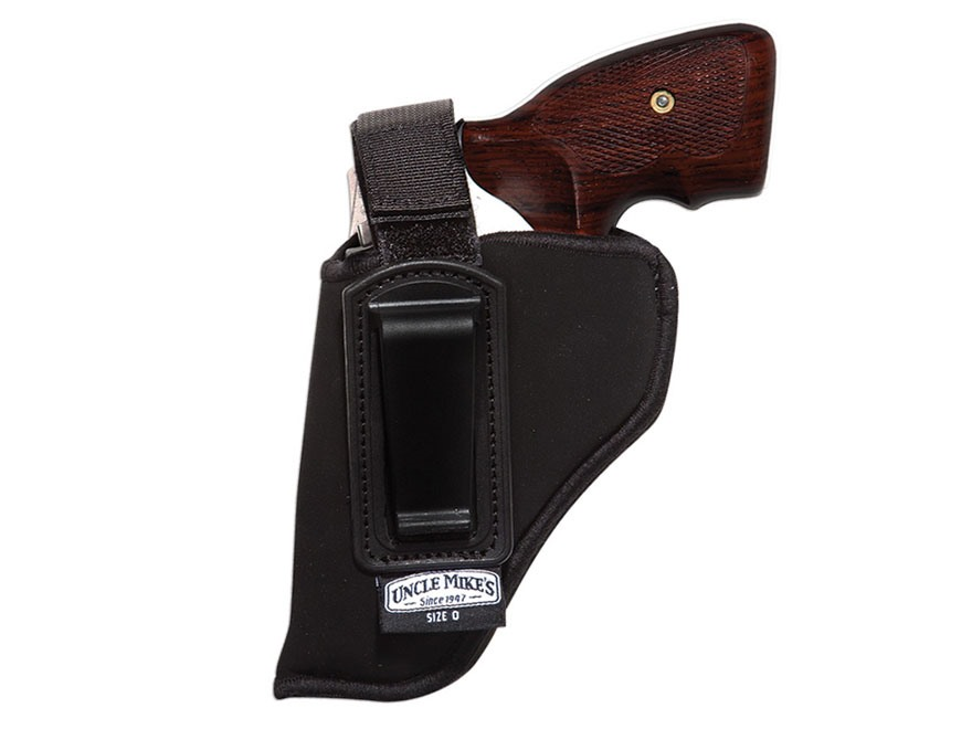 """Uncle Mike's Inside the Waistband Retention Strap Holster Small Frame 5-Round Revolver with Hammer 2"""" Barrel Ultra-Thin 4-Layer Laminate Black"""