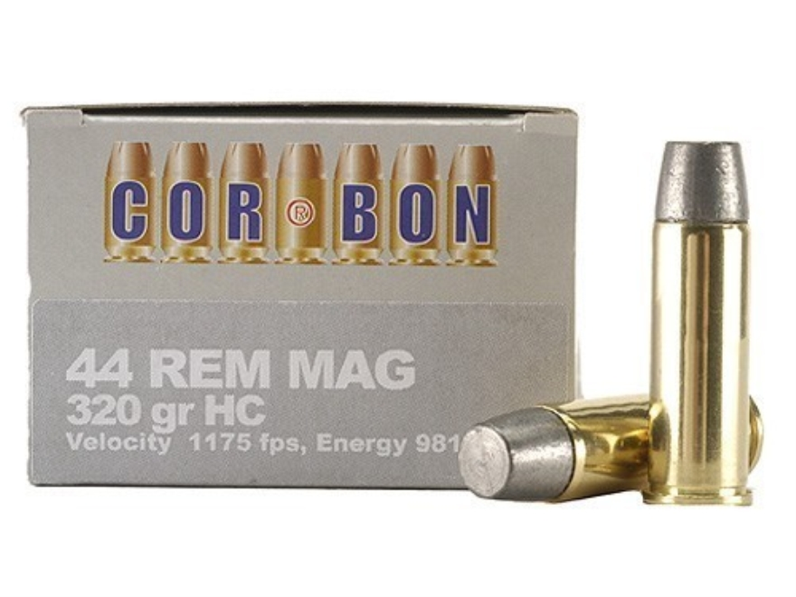 Cor-Bon Hunter Ammunition 44 Remington Magnum 320 Grain Hard Cast Lead Flat Nose Box of 20