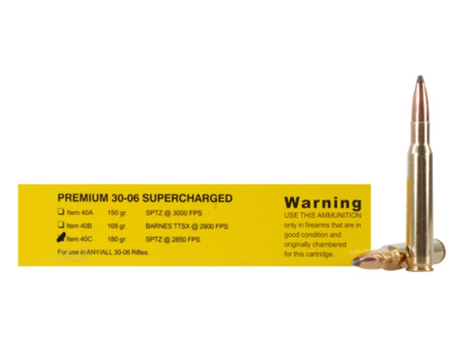Buffalo Bore Ammunition Supercharged 30-06 Springfield 180 Grain Spitzer Flat Base Box of 20
