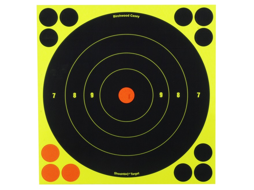 "Birchwood Casey Shoot-N-C Targets 8"" Bullseye Pack of 30 with 120 Pasters"
