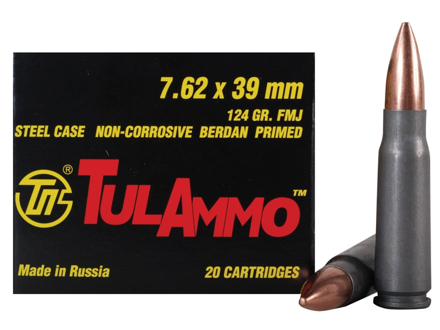 TulAmmo Ammunition 7.62x39mm 124 Grain Full Metal Jacket (Bi-Metal) Steel Case Berdan Primed Box of 20