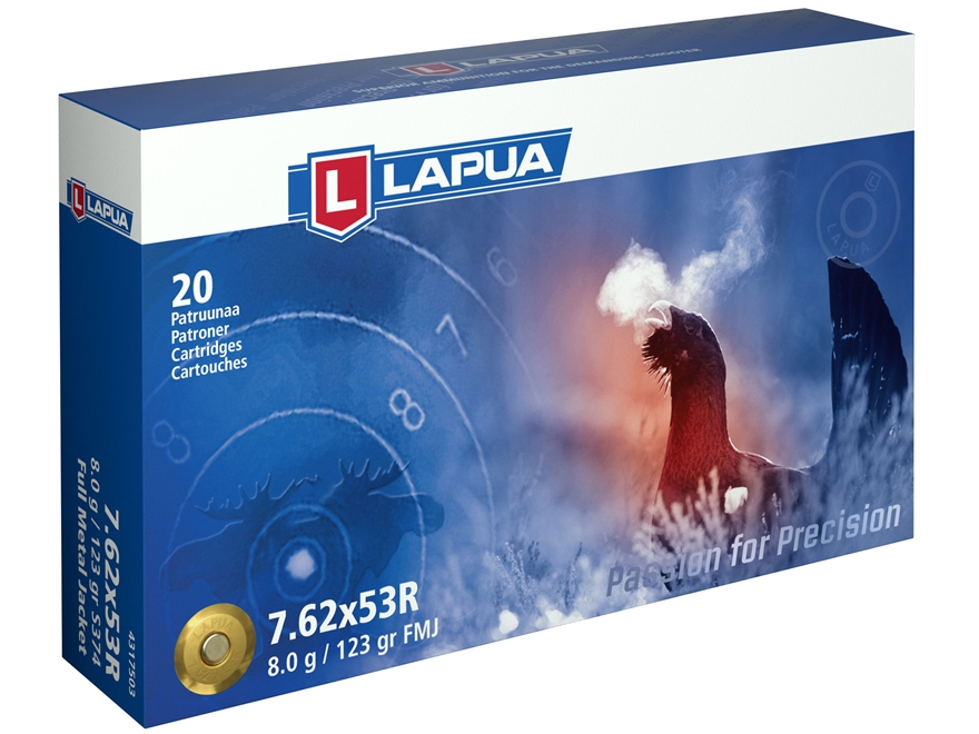 Lapua Ammunition 7.62x54mm Rimmed Russian (7.62x53mm Rimmed) 123 Grain Full Metal Jacket Box of 20