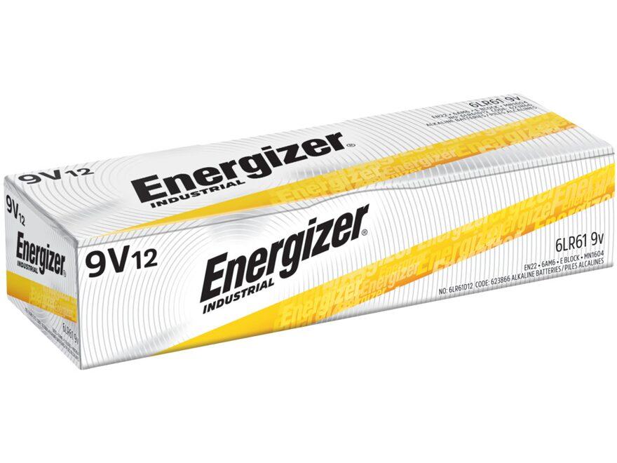 Energizer Battery 9 Volt Industrial Alkaline EN22 Pack of 12