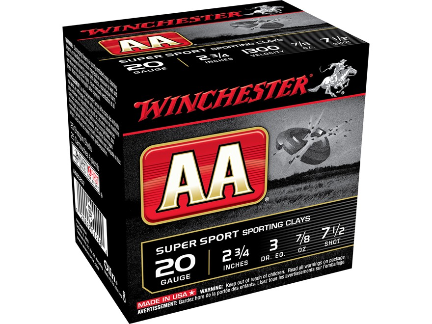 "Winchester AA Super Sport Sporting Clays Ammunition 20 Gauge 2-3/4"" 7/8 oz #7-1/2 Shot"