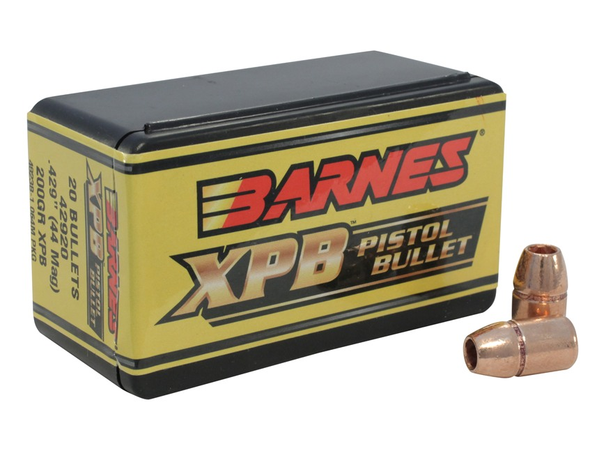Barnes XPB Handgun Bullets 44 Caliber (429 Diameter) 200 Grain Solid Copper Hollow Poin...