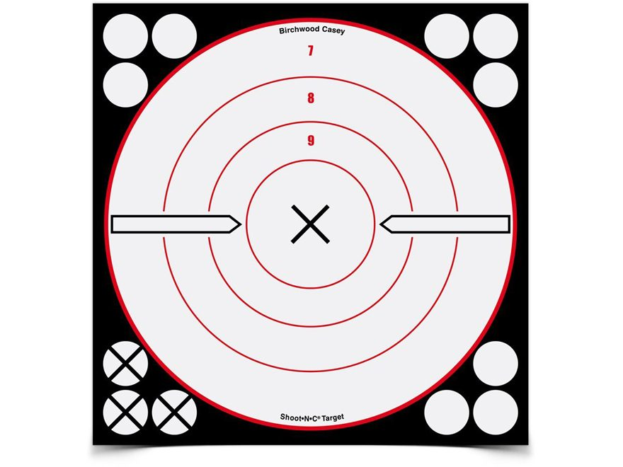 "Birchwood Casey Shoot-N-C White/Black 8"" X Bullseye Reactive Targets Package of 6"