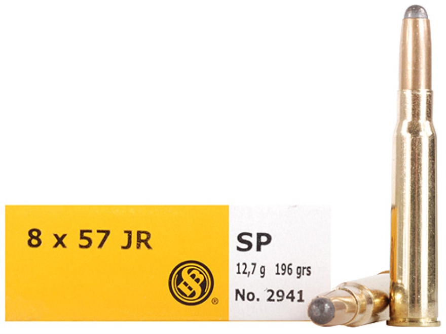 Sellier & Bellot Ammunition 8x57mm JR Mauser (Rimmed Mauser) 196 Grain Semi-Jacketed Soft Point Box of 20