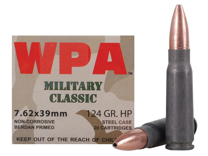 Wolf Military Classic Ammunition 7.62x39mm 124 Grain Jacketed Hollow Point (Bi-Metal) Steel Case Berdan Primed Box of 20