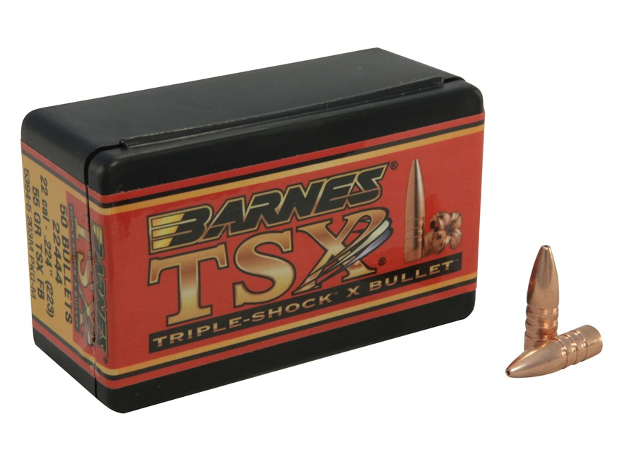 Barnes Triple-Shock X Bullets 22 Caliber (224 Diameter) 55 Grain Hollow Point Flat Base Lead-Free Box of 50