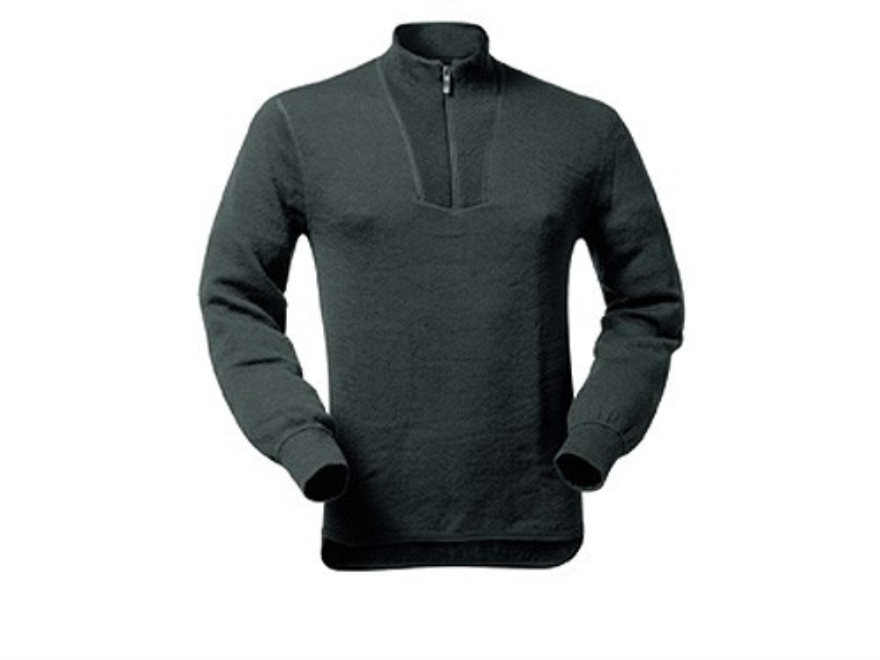 Wool Power Men's 1/4 Zip Turtleneck Long Underwear Shirt Long Sleeve 400 Gram Insulated Wool Black XL 45-48