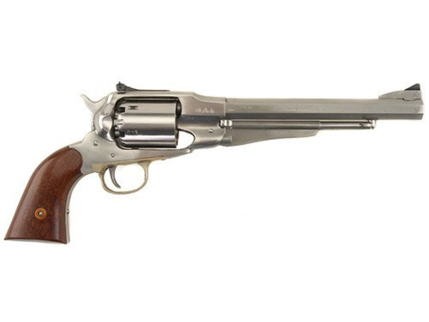 "Uberti 1858 Remington Steel Frame Black Powder Revolver 44 Caliber 8"" Adjustable Sights Stainless Steel Barrel"