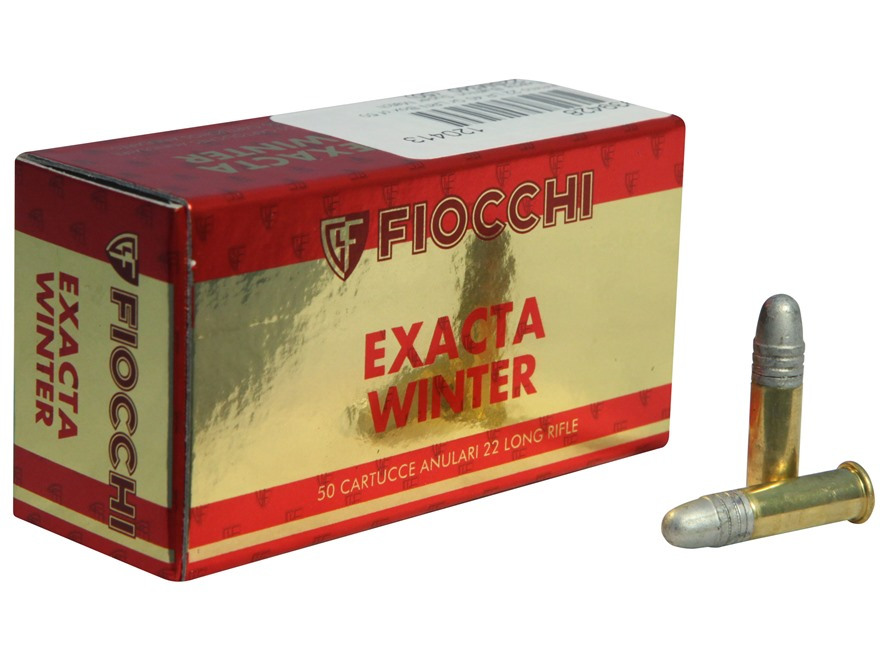Fiocchi Exacta Winter Super Match Ammunition 22 Long Rifle 40 Grain Lead Round Nose Box of 500 (10 Boxes of 50)