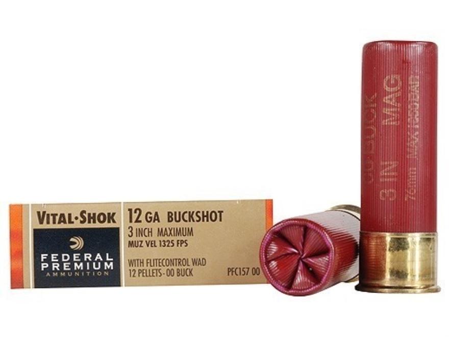 "Federal Premium Vital-Shok Ammunition 12 Gauge 3"" Buffered 00 Copper Plated Buckshot 12..."