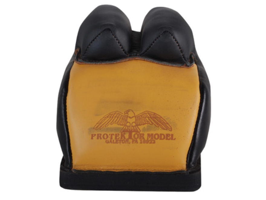 Protektor Deluxe Double Stitched Bunny Ear Rear Shooting Rest Bag with Heavy Doughnut Bottom Leather Black and Yellow Filled