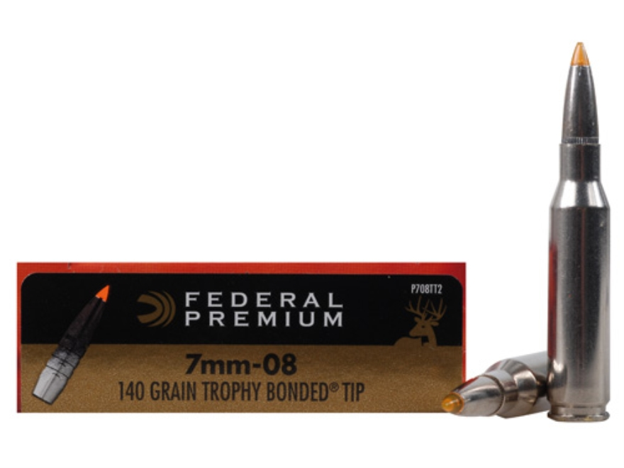 Federal Premium Vital-Shok Ammunition 7mm-08 Remington 140 Grain Trophy Bonded Tip Box ...