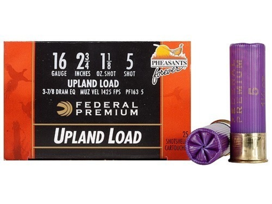 "Federal Premium Wing-Shok Ammunition 16 Gauge 2-3/4"" 1-1/8 oz Buffered #5 Copper Plated Shot Box of 25"