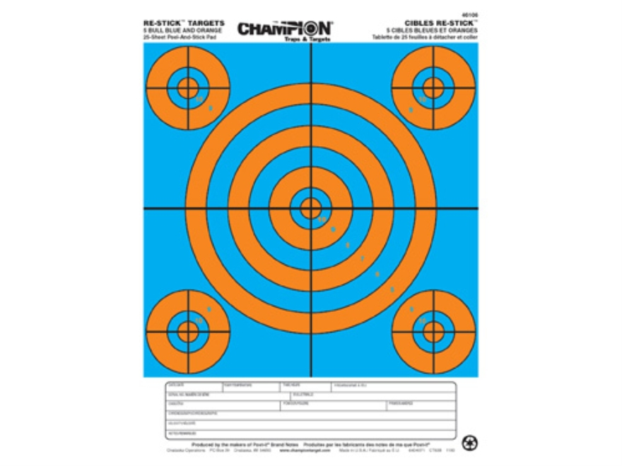 "Champion Re-Stick 5 Bull Blue and Orange Self-Adhesive Targets 8.5"" x 11"" Paper Pack of 25"