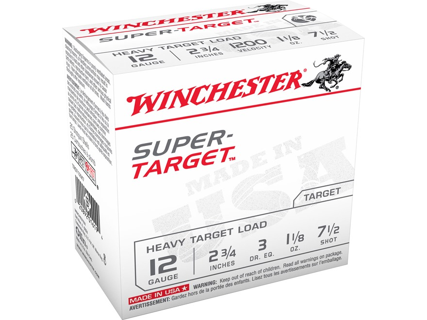 "Winchester Super-Target Ammunition 12 Gauge 2-3/4"" 1-1/8 oz #7-1/2 Shot"