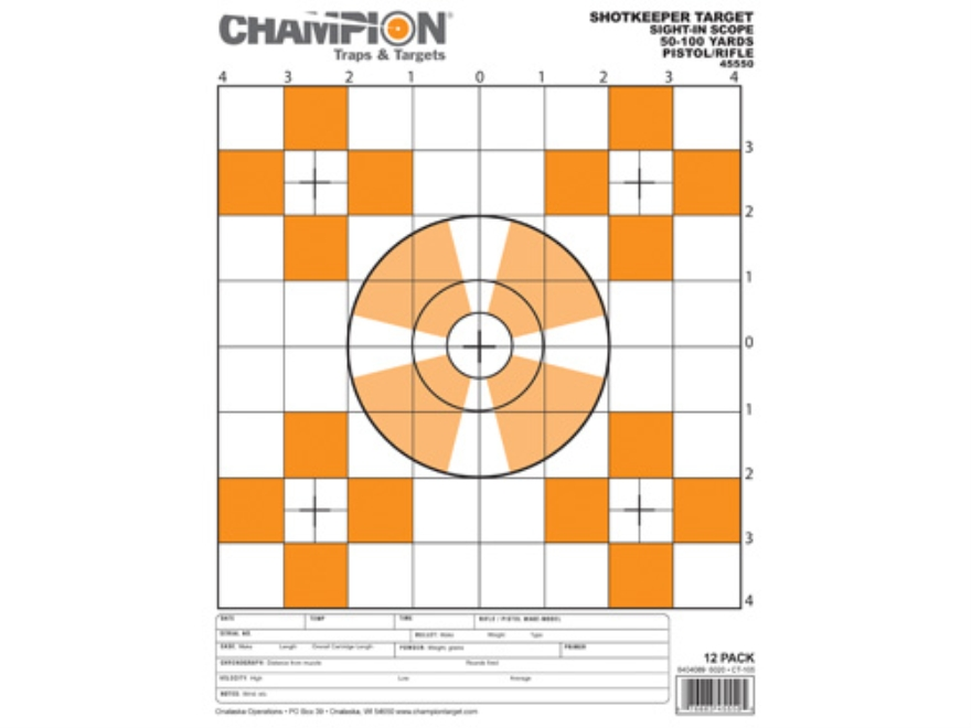 "Champion ShotKeeper Small Sight-In Targets 8.5"" x 11"" Paper Pack of 12"