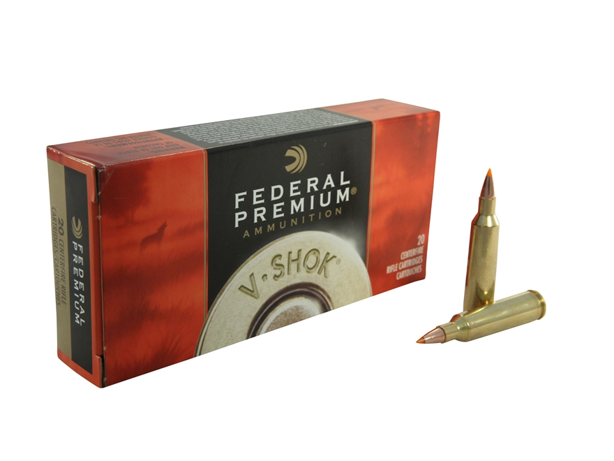 Federal Premium V-Shok Ammunition 22-250 Remington 55 Grain Nosler Ballistic Tip Box of 20