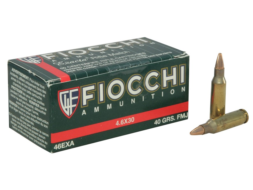 Fiocchi Ammunition 4.6x30mm HK 40 Grain Full Metal Jacket Box of 50