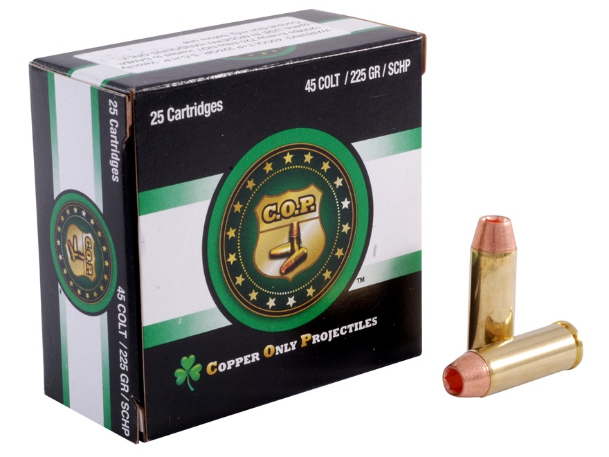 Copper Only Projectiles (C.O.P.) Ammunition 45 Colt (Long Colt) +P 225 Grain Solid Copper Hollow Point Lead-Free Box of 25