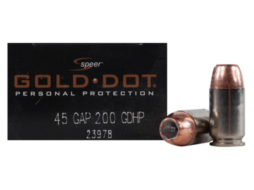 Speer Gold Dot Ammunition 45 GAP 200 Grain Jacketed Hollow Point Box of 20