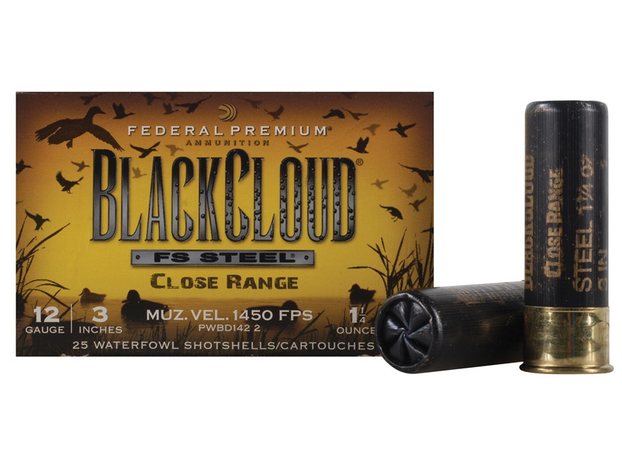 "Federal Premium Black Cloud Close Range Ammunition 12 Gauge 3"" 1-1/4 oz  #2 Non-Toxic FlightStopper Steel Shot Box 25"