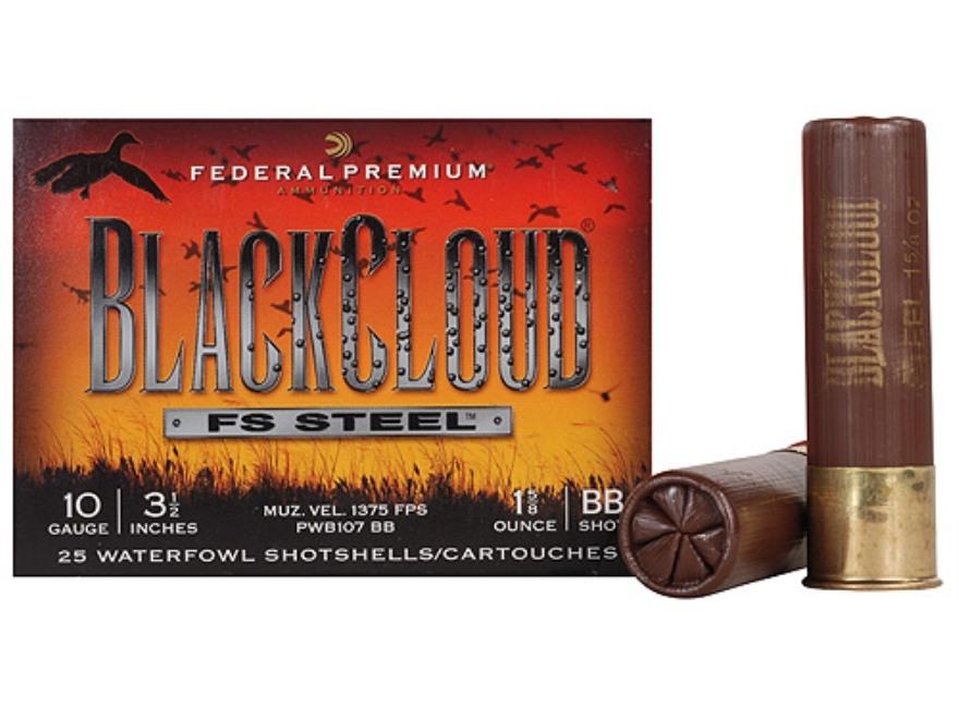 "Federal Premium Black Cloud Ammunition 10 Gauge 3-1/2"" 1-5/8 oz BB Non-Toxic FlightStopper Steel Shot"